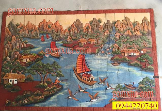 Tranh gốm trang trí Thuận buồm xuôi gió