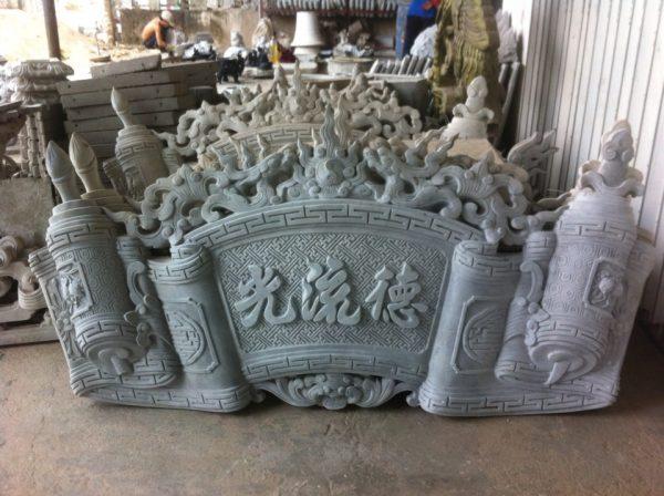 cuon thu xi măng trang trí đình chùa