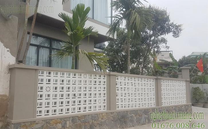 Gạch bông gió xi măng trang trí tường rào