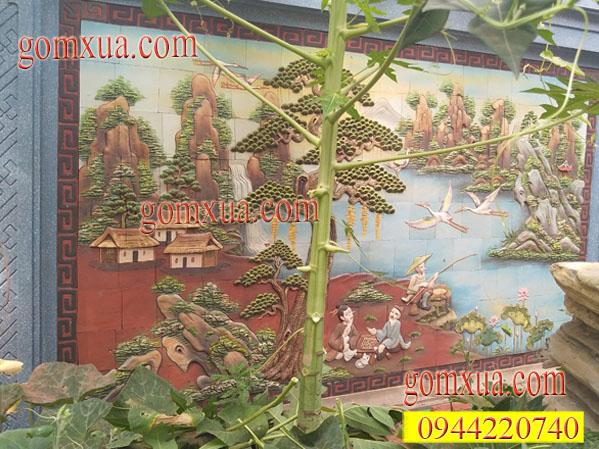 Tranh gốm trang trí sân vườn Gốm Phù Lãng